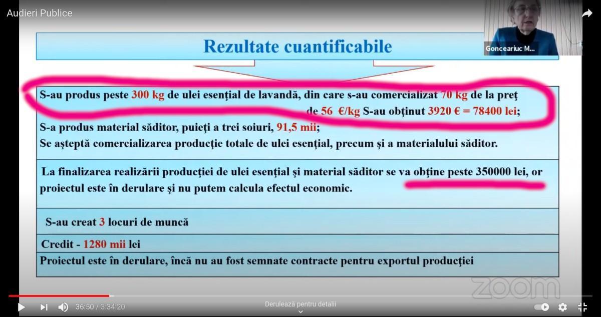 300 kg de ulei esențial de pe plantația de un an cu suprafața de trei hectare – sau raport trișat ?!
